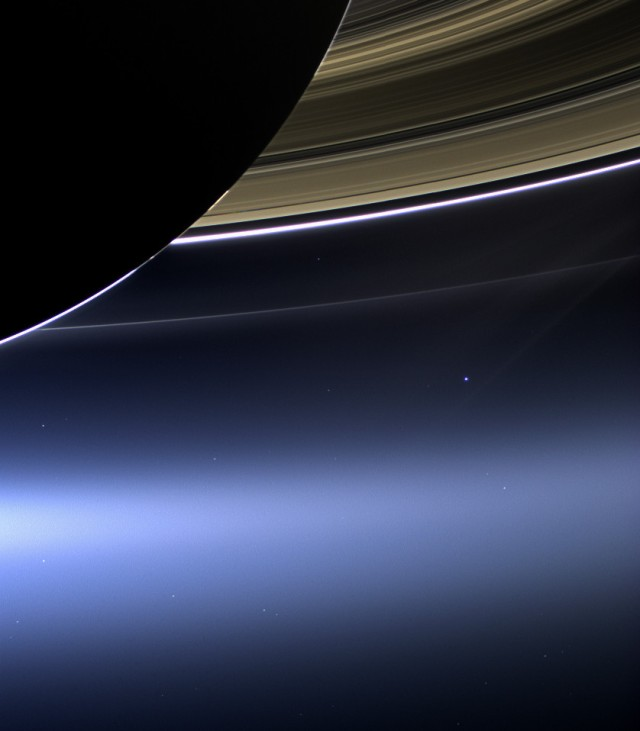 The 'New' Pale Blue Dot; Earth Captured by Cassini from Billions of Miles Away Beneath the Rings of Saturn