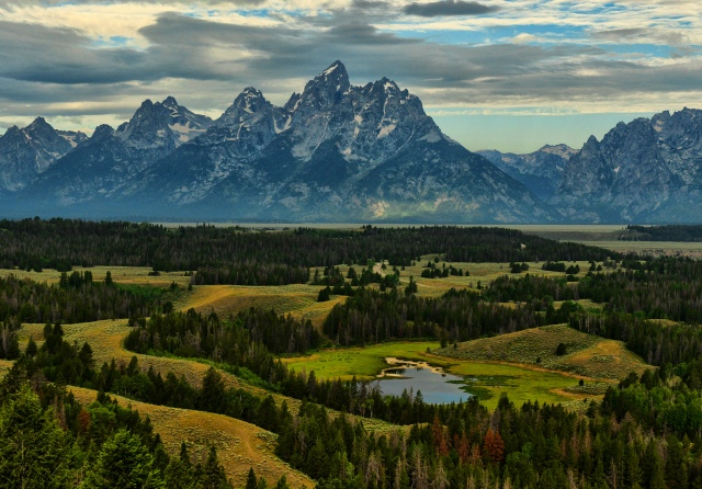 Magnificent View of Jackson Hole Valley in Grand Teton National Park.