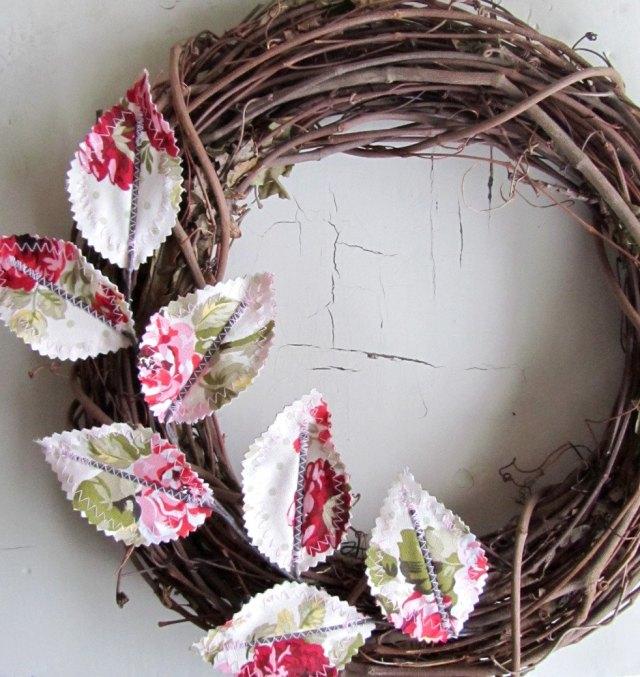 Fabric leaf wreath